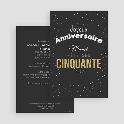 Invitation Anniversaire Adulte - 50 Doré 43335 preview