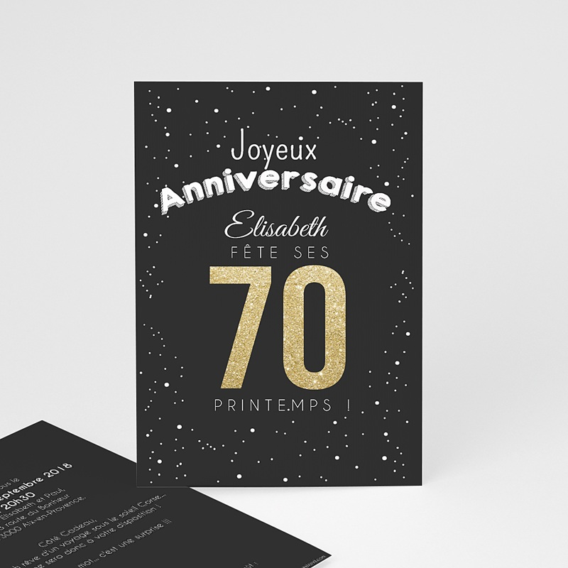 Carte invitation anniversaire adulte 70 doré