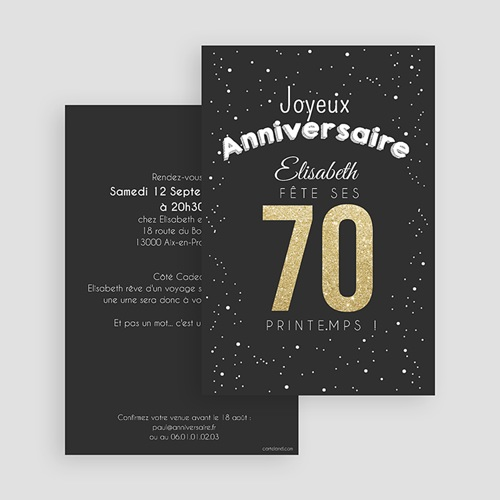 Invitation Anniversaire Adulte - 70 doré 43341 preview