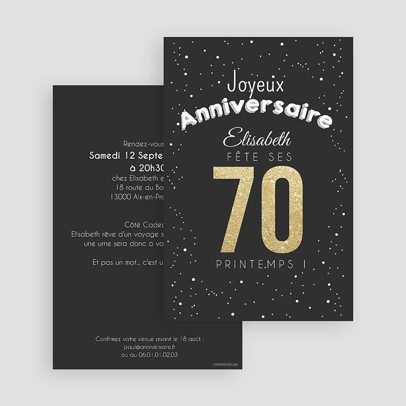 Carte Invitation Anniversaire Adulte 70 doré gratuit