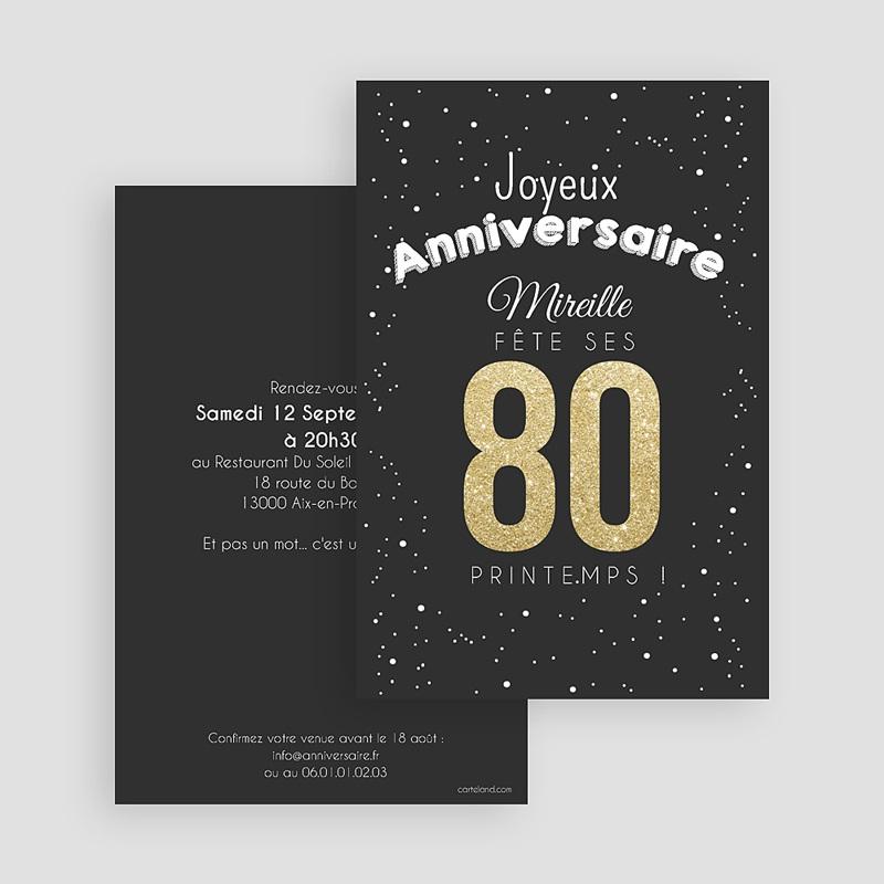 Préférence Invitation Anniversaire Adulte - 80 ans dorés | Carteland.com BN86