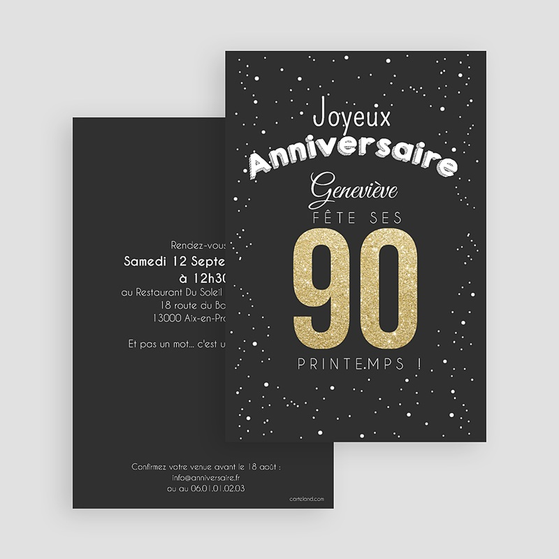 invitation anniversaire adulte 90 ans dor s. Black Bedroom Furniture Sets. Home Design Ideas