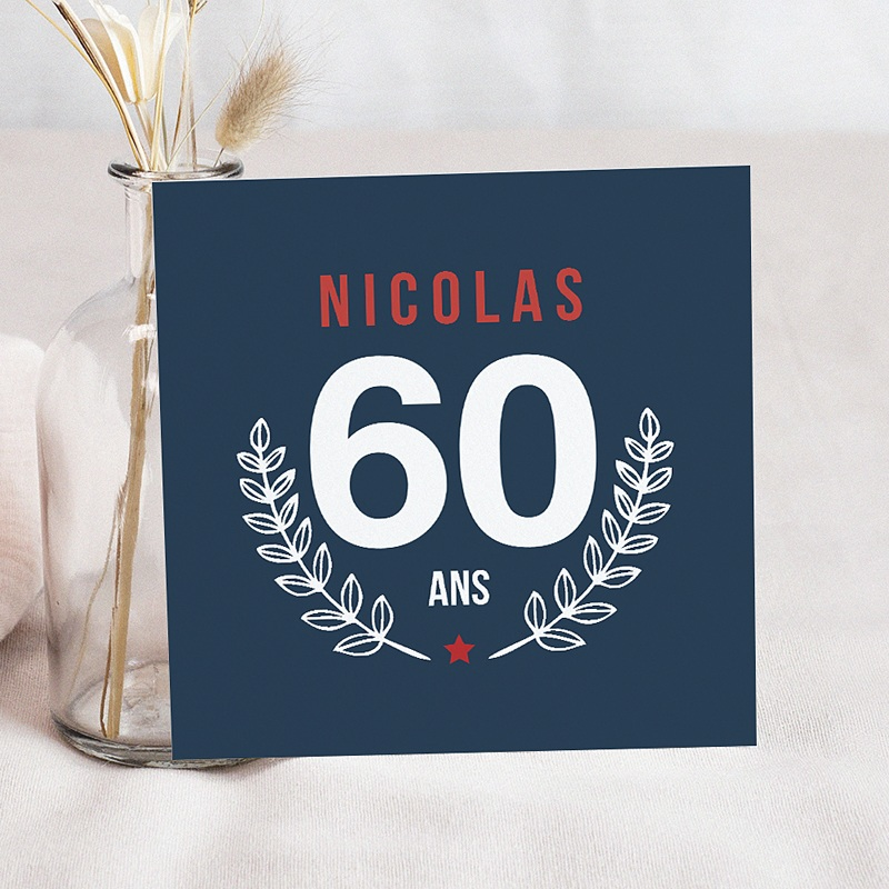 Carte invitation anniversaire adulte Laurier 60