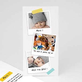 Carte remerciement naissance garçon Façon Pola