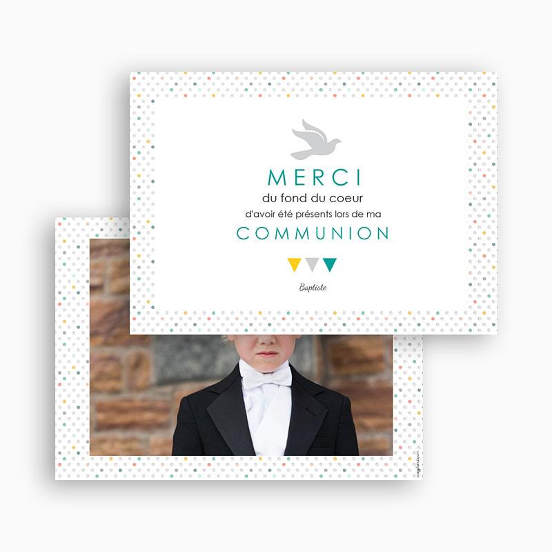 Carte Remerciement Communion Garçon Multi-couleurs gratuit
