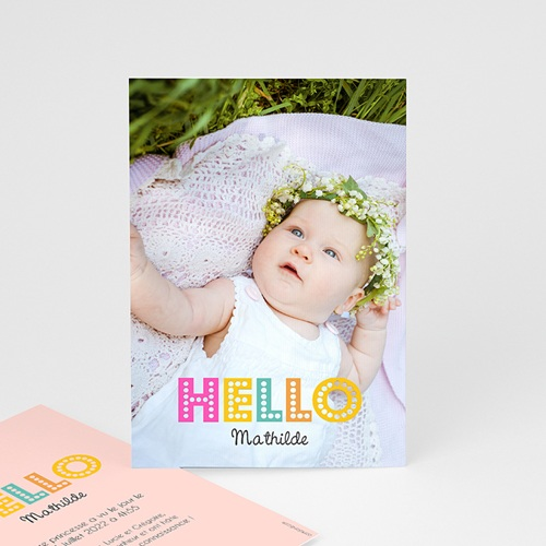Faire-Part Naissance Fille Hello multicolor