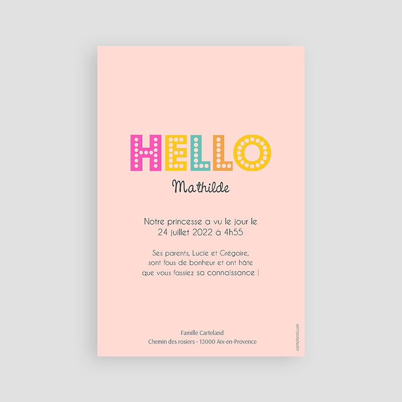 Faire-Part Naissance Fille - Hello multicolor 43548 thumb