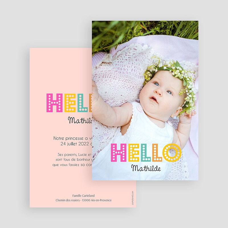 Faire-Part Naissance Fille - Hello multicolor 43549 thumb