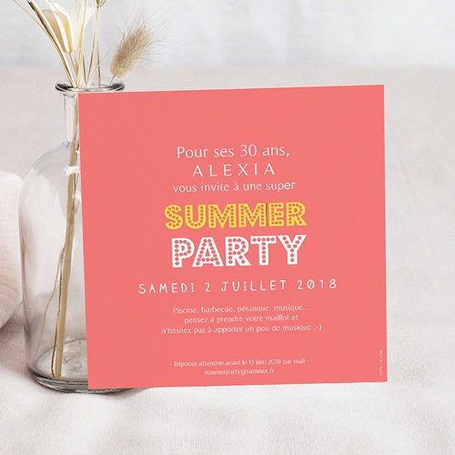 Carte Invitation Anniversaire Adulte Summerparty Ananas pas cher