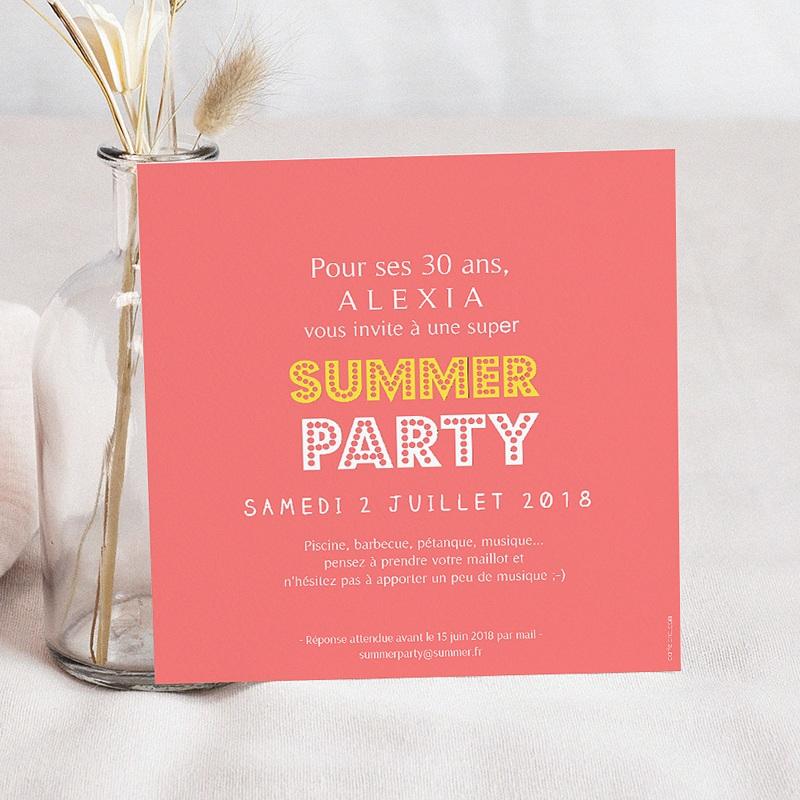 Carte invitation anniversaire adulte Summerparty Ananas pas cher