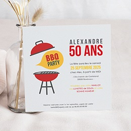 Invitations Anniversaire adulte Barbecue Party
