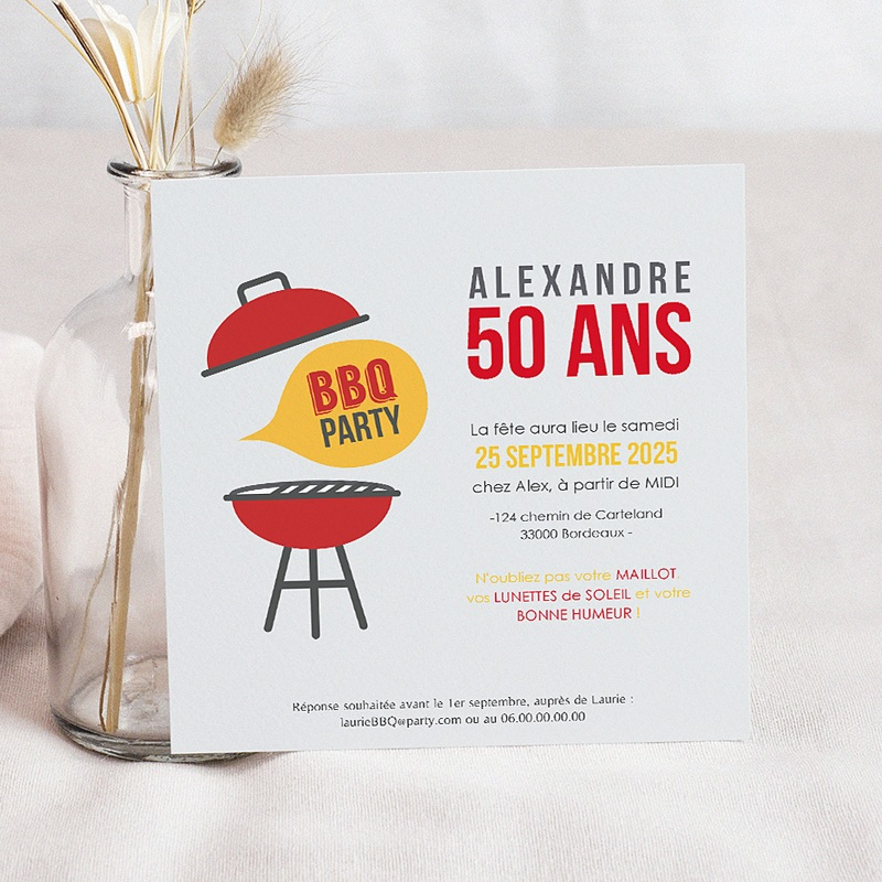 invitation anniversaire adulte barbecue party. Black Bedroom Furniture Sets. Home Design Ideas