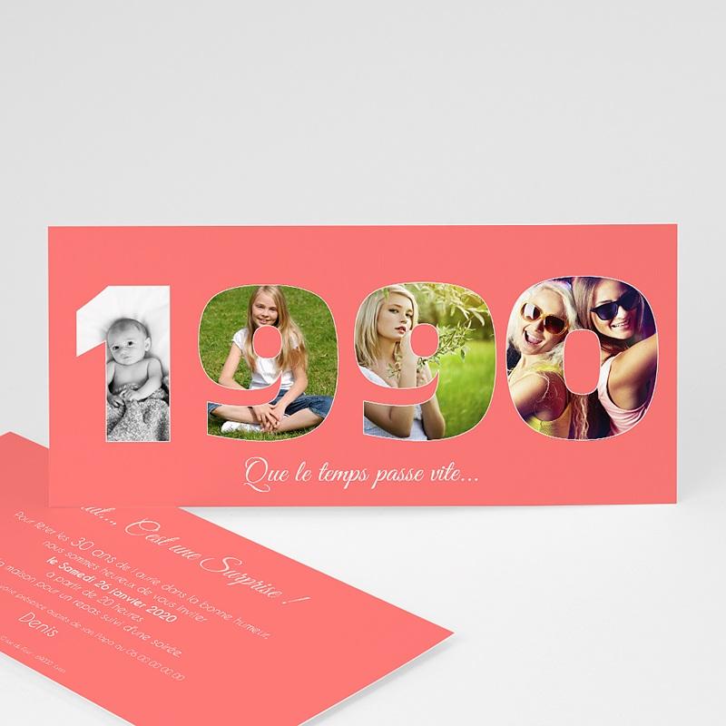 Carte Invitation Anniversaire Adulte 30 ans au fil du temps