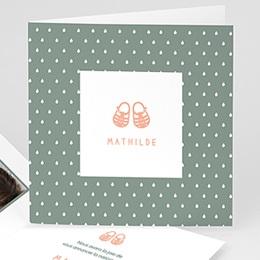 Faire-Part Naissance Fille - Sandalettes plastiques roses - 0