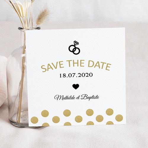 Save the date mariage Paillettes et bagues