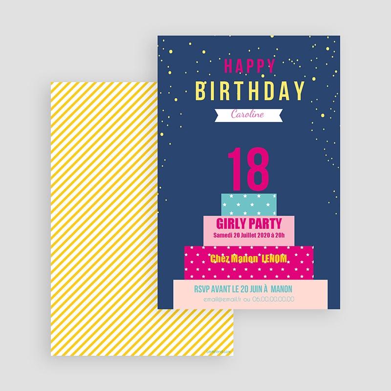 Carte invitation anniversaire adulte Gâteau monté 18 ans gratuit