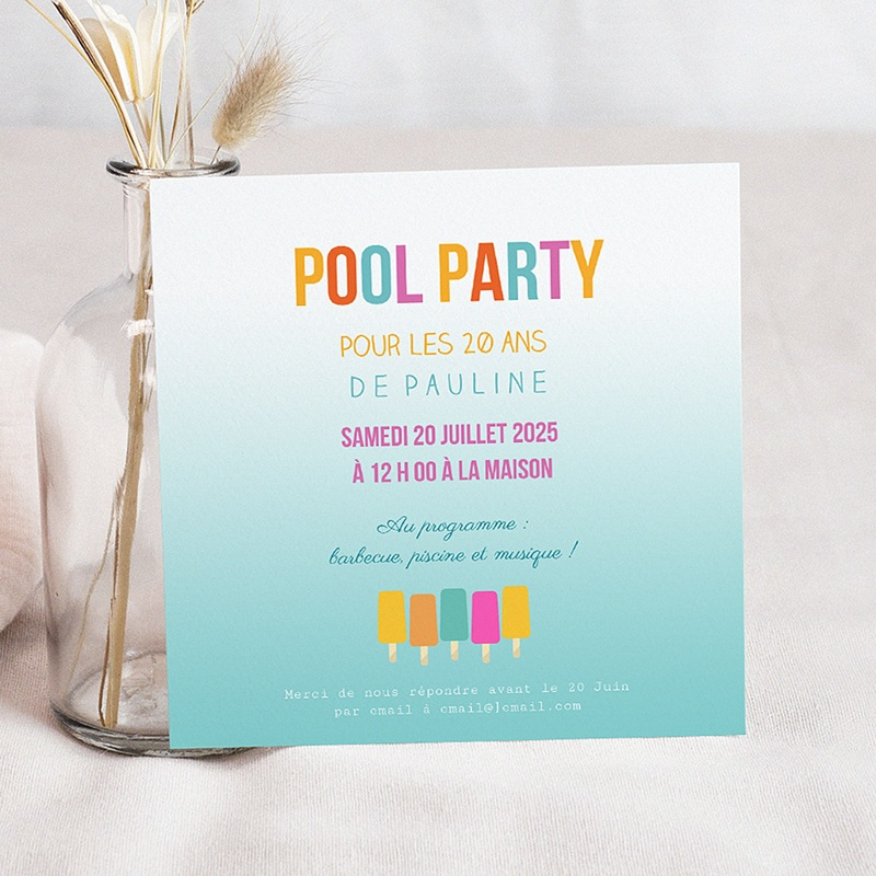 Bien connu Invitation Anniversaire Piscine en mode Pool Party | Carteland.com IZ12