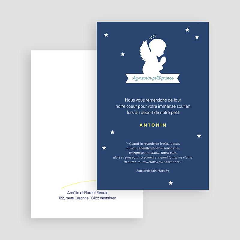 Carte remerciement décès universel Petit ange Etoile gratuit