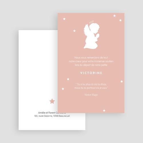 Carte Remerciement Décès Universel Petit ange rose gratuit