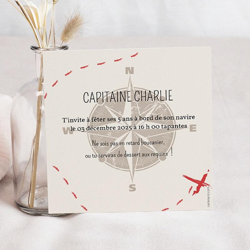 Carte invitation anniversaire enfant Pirate pas cher
