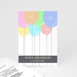 Carte Invitation Anniversaire Adulte - Ballons à gogo 43811