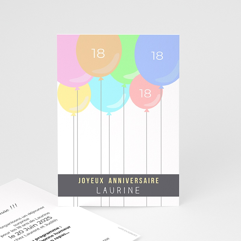 Carte Invitation Anniversaire Adulte Ballons à gogo
