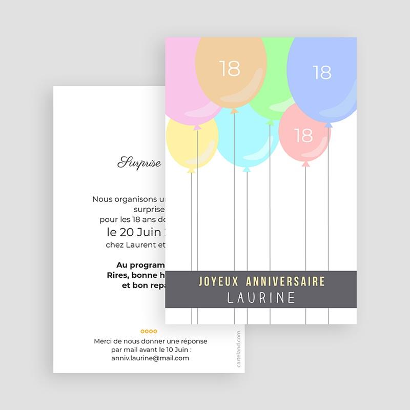 Carte Invitation Anniversaire Adulte Ballons à gogo gratuit