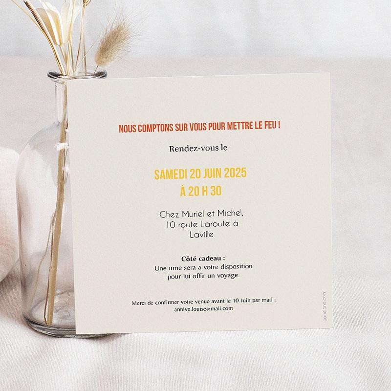 Carte Invitation Anniversaire Adulte Allumez le feu ! pas cher