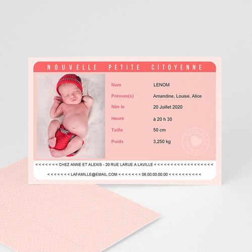 Faire-Part Naissance Fille - Carte Identité Rose 44059