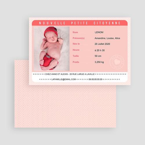 Faire-Part Naissance Fille Carte Identité Rose gratuit