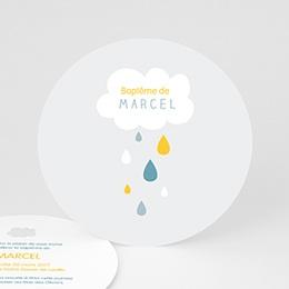 Faire-part Baptême Garçon - Pluie Bénite Bleue - 0
