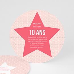 Carte invitation anniversaire fille - Etoile Rose - 0