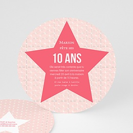 Invitations Anniversaire Fille - Etoile Rose - 0