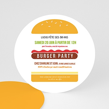 Carte invitation anniversaire adulte Burger party