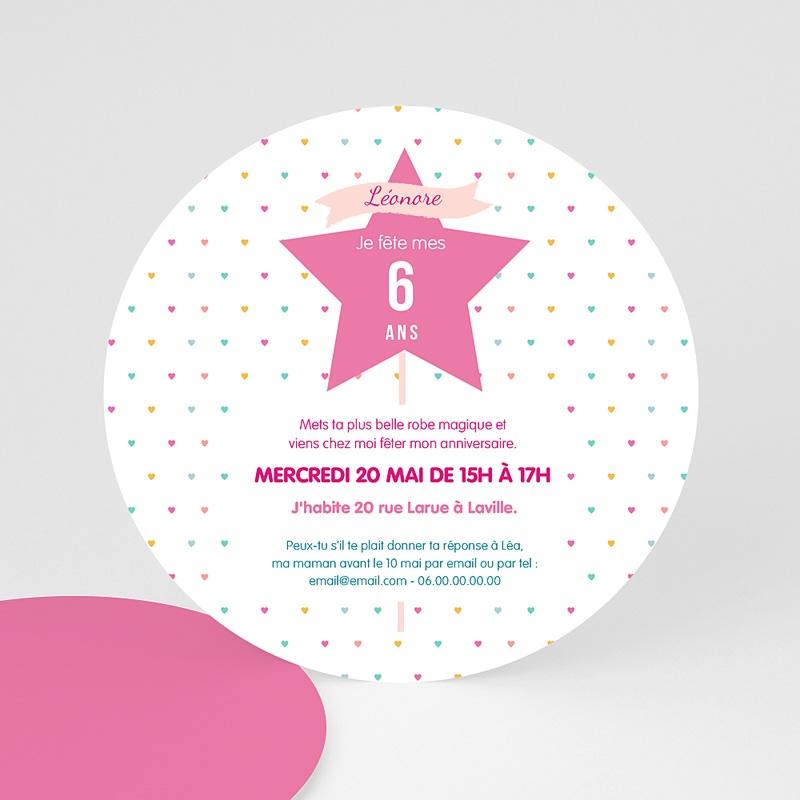 Carte invitation anniversaire fille Princesse et Fée