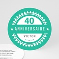Carte invitation anniversaire adulte Vintage vert