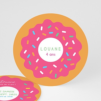 Carte invitation anniversaire fille donut party personnalisable