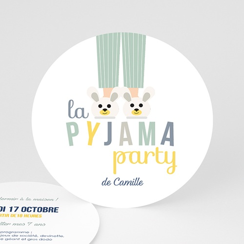 Carte invitation anniversaire garçon Pyjama Party