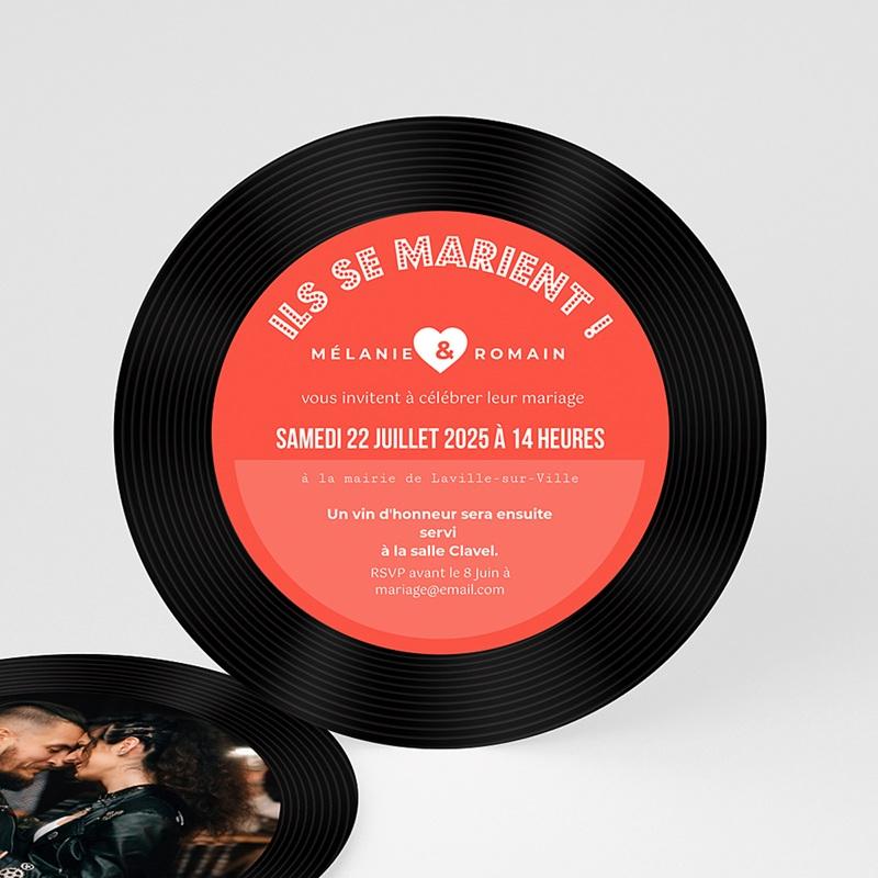 Souvent Faire-part mariage rond - Disque Vinyl | Carteland.com VA97