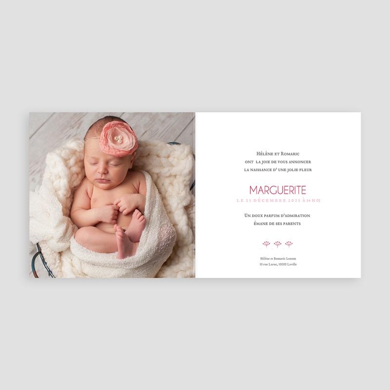 Faire-part naissance sans photo Fleur chic pas cher