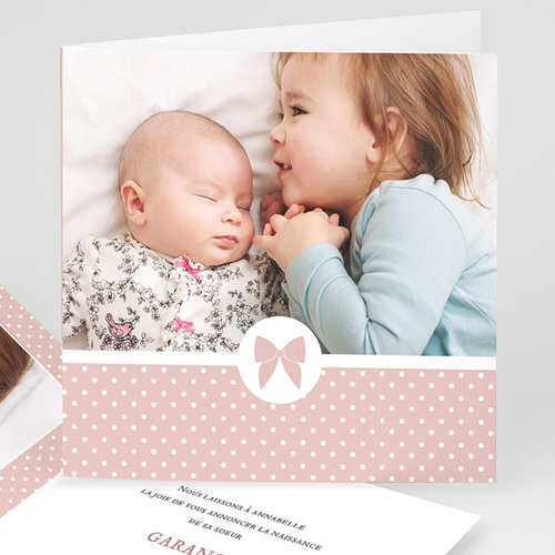 Faire-Part Naissance Fille - Noeud chic 44285 thumb