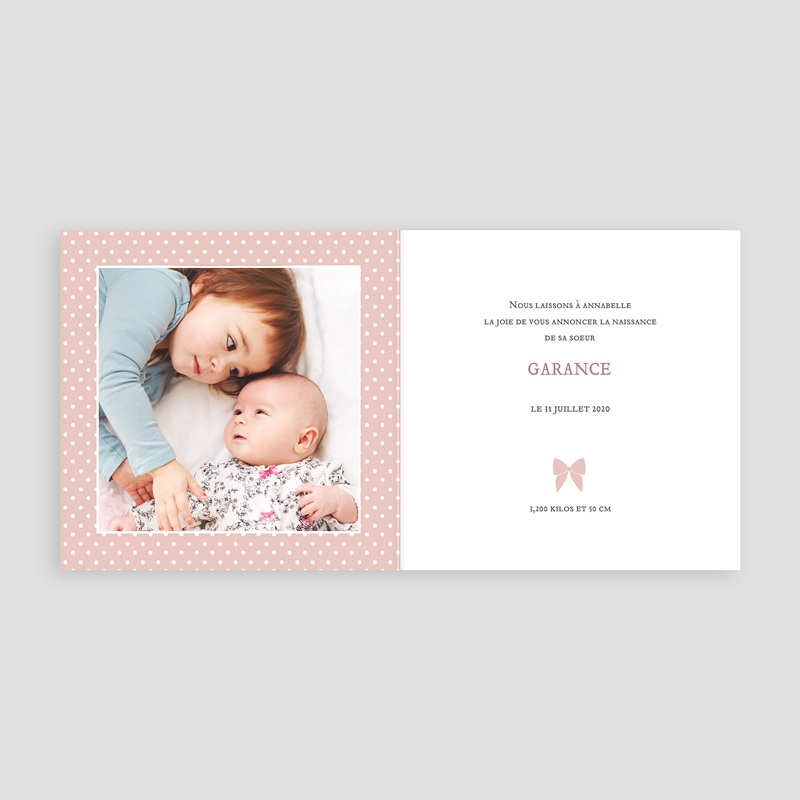 Faire-Part Naissance Fille - Noeud chic 44286 thumb
