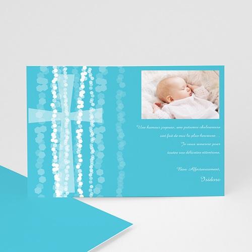 Carte Remerciement Baptême Garçon Croix Contemporaine Bleue