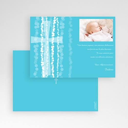 Carte Remerciement Baptême Garçon Croix Contemporaine Bleue pas cher