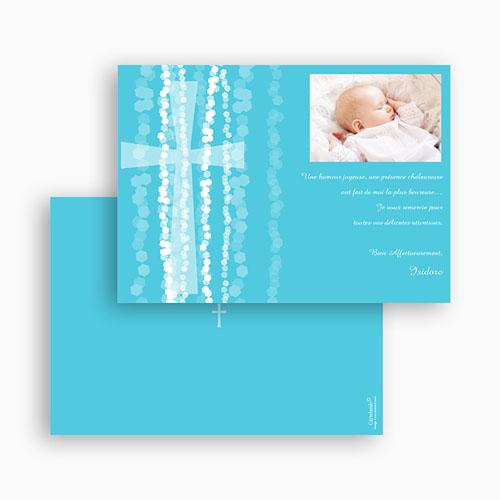Carte Remerciement Baptême Garçon Croix Contemporaine Bleue gratuit