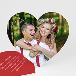 Carte remerciement mariage original Merci Coeur Rouge