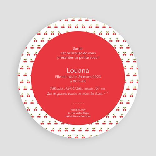 Faire-Part Naissance Fille - Cerise 44365 preview