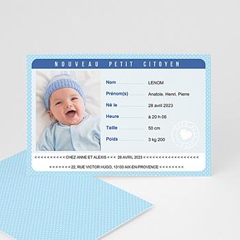 Faire part de naissance garçon carte identité bleu