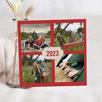 Carte de voeux Bonne Année Ardoise vert et rouge