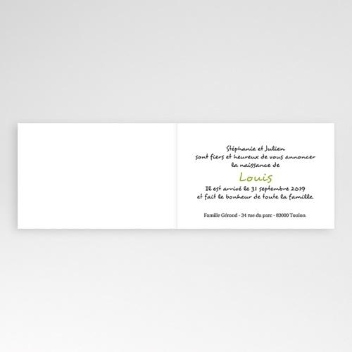 Faire-Part Naissance Garçon - Imprimé fleuri vert 4445 thumb